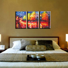 3 Muti panel abstract modern canvas wall decorative Knife paint Palette oil painting canvas for living room bedroom decoration