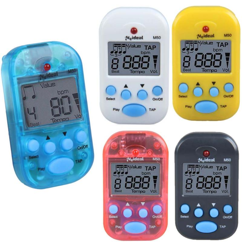 M50 Mini Professional LCD Clip-on Digital Tuner Metronome For Guitar Piano 57 X 32 X 20mm 3 Colors Guitar Accessories