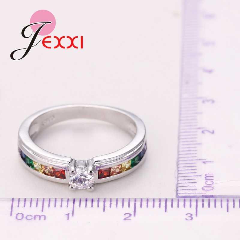 Высокое качество Радуга кубический циркон 925 пробы серебряные кольца для женщин Свадьба Прекрасный обручальное предложение кольцо аксессуар