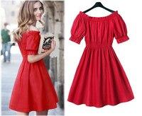 2015 Audrey Hepburn Vestidos L 3XL 4XL 5XL Plus Size Women Summer Retro Red Party Wedding