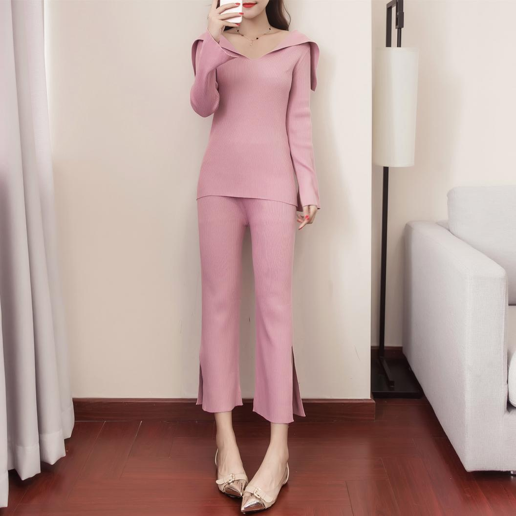 2017  new women knitted suits  two pcs clothing set slip autumn sweater knitting top pants solid knitwear lady outfit fashion