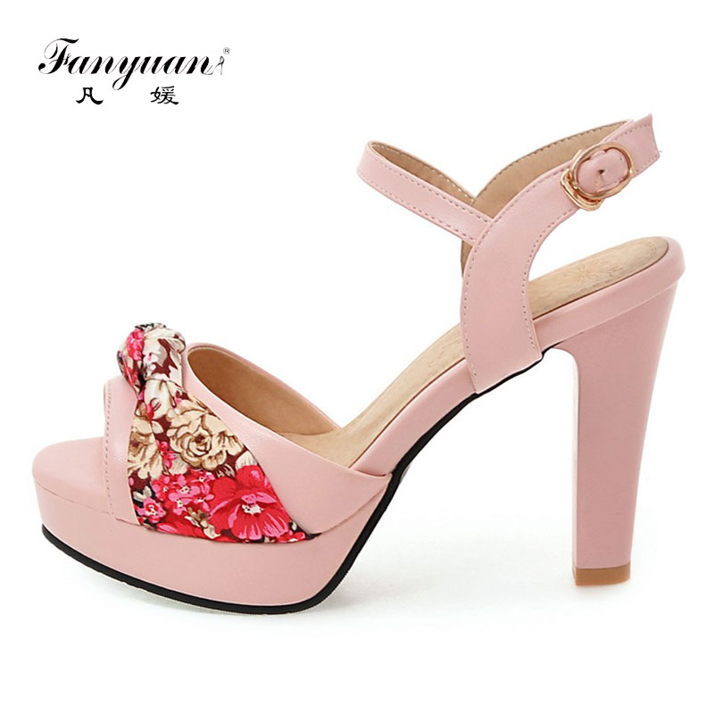 Fanyuan Summer Women <font><b>Sandals</b></font> Printed Ethnic <font><b>Sandals</b></font> <font><b>High</b></font> <font><b>Heels</b></font> <font><b>Platform</b></font> <font><b>Sandals</b></font> Women <font><b>Sexy</b></font> Open Toe Shoes Woman Summer <font><b>Heels</b></font> image