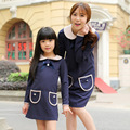 2016 новый стиль корейской моды Семьи наряды мать и дочь с длинным рукавом платья сплошной цвет мило платье принцессы