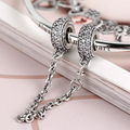 Hot Sale Silver Charms for Bracelets and Bangle Pave Inspiration Safety Chain Elegant Jewelry DIY Beads as Gift for Women