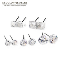 Neoglory Silver Plated Small Five White Stud Earrings Set For Women Teens Girls Brand Fashion India