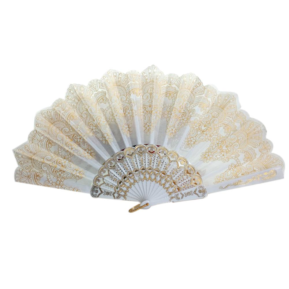 Spanish Style Dance Party Fan Wedding Silk Lace Fan Folding Held Flower Fan Lady Wedding Folding Hand Fan