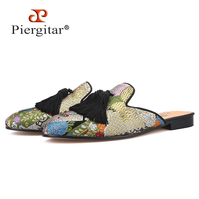 Piergitar 2019 new arrival Handmade Paisley pattern men silk slippers For parties and prom men tassel