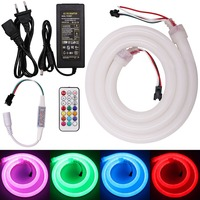 1M/2M/5M DC12V RGB Led Neon Rope WS2811 Pixel Strip Light + WS2812B 21Key Pixel Controller + 5A Power EU/UK/US/AU Plug Adapter