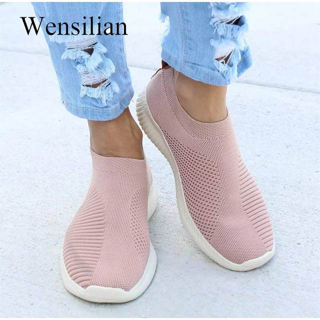 Summer Breathable Sneakers Women Treainers Knitted Vulcanized Shoes Mesh Slip On Sock Sneakers tenis feminino Zapatos Mujer 1