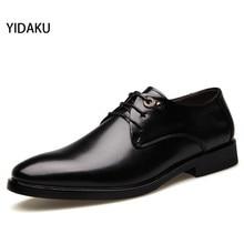 YIDAKU Новый Бренд Мужской Обувь Из Натуральной Кожи Мода Квартиры Мужская Повседневная Оксфорды Шосе Черный Свадебные Оксфорды Партия Обуви