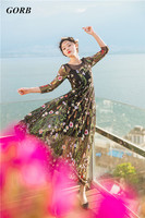 Free by DHL 2017 Hot Sales Fashion Show Brand Women Alice Garden Embroidery Retro Long Sleeve Dresses Holiday Long Dress G3393