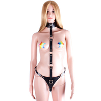 MaryXiong PU Leather Collar Queen Training Discipline Female Chastity Belt Women Sex Fetish Bondage Restraint Erotic Products