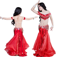 2019 Sexy Belly Dance Costume Kids Bellydance Clothes Oriental Dance Bra Long Skirt Drum Dancing 3pcs Outfit Costumes