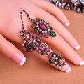 Chegada nova Ajustável Turco Dois Anéis de Dedo Para As Mulheres Do Partido Red Resina Oco Out Flower Design Anel Do Vintage Anel Jóias