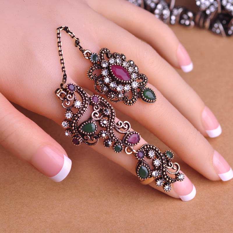 New Arrival Adjustable Turkish Two Finger Rings For Party Women ...