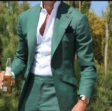 2018 Homem Jaqueta Ternos de Casamento Dos Homens Ternos Casuais Blazer Verde Feito Sob Medida Smoking Traje Terno Masculino 2 Peças (paletó + Calça)