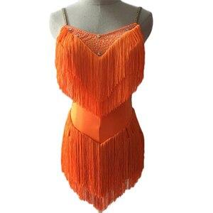 Image 5 - Vestidos de baile latino para mujer, encaje negro, fiesta, bailarín, cantante, entretenimiento, flecos, borla, negro, DM1034, 2020