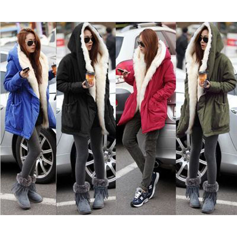 New Winter Stylish Slim Women Cotton Down Jackets Female Medium Long Paragraph Hooded Large Fur Collar Solid Color Overcoats