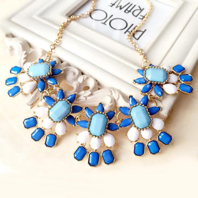 Sea Blue Geometric Flower Drop Chains Collar Bib Statement Necklaces Fashion Jewelry For Women Wholesale N46