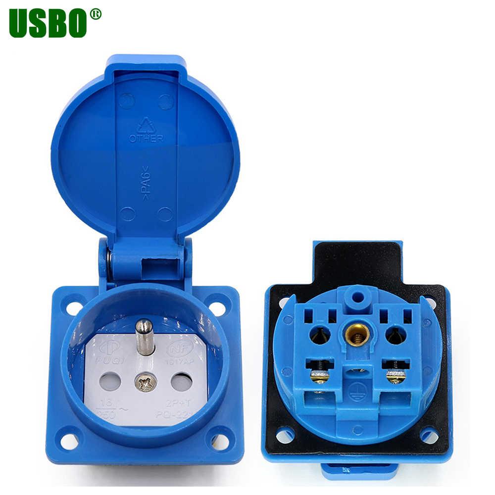 שחור כחול franch גרמניה תעשיית בטיחות 16A לשקע 250V IP54 CE כיסוי עמיד למים dusrproof מחבר מתח AC socket