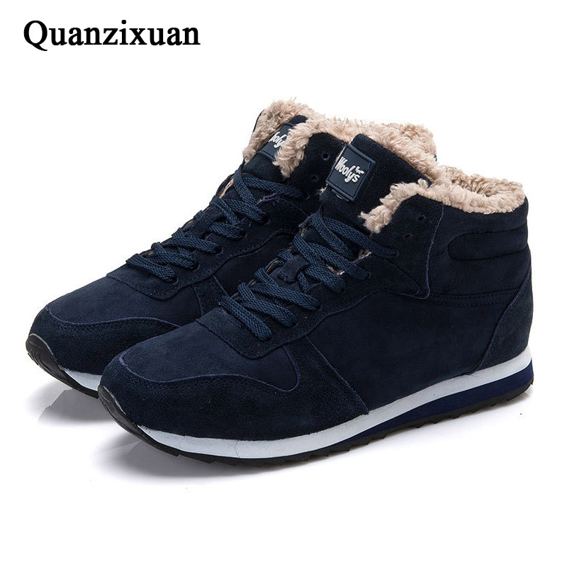 QUANZIXUAN New Men Boot fashion Men Ankle Boots Warm Plush Snow Boots Men safety Shoes Men Sneakers Male Shoes Black Blu