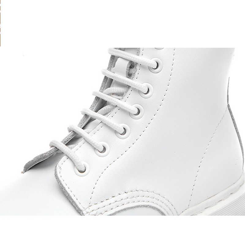 HQFZO marka artı boyutu sonbahar beyaz çizmeler ayak bileği hakiki deri daireler topuklu yuvarlak ayak platformu kadın ayakkabısı 2019 yeni
