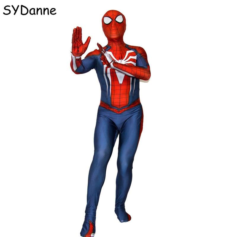 Adult Kids PS4 Insomniac Games Spiderman Cosplay Costume Lycra Bodysuit Spider man Costume For Boys Halloween Zentai Suit Man