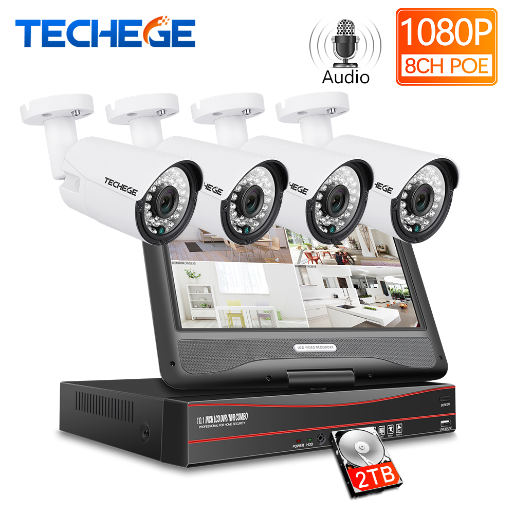 Techege 8CH 1080P 48V POE NVR Kit With 10.1'' LCD Monitor 2MP 3000TVL PoE IP Camera Outdoor Night Vision Video Surveillance Kit