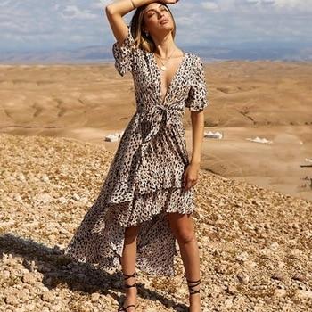 092920dff Danjeaner leopardo estampado con cuello en V corbata de mariposa vestido  largo mujer verano Irregular golondrina