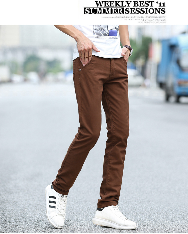 Business Casual Pants 11 Colors New Casual Pencil Pants Men Slim Pant Straight Trousers Solid Leisure Zipper Spring Summer k919 42