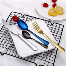 4PCS/Set Stainless Steel Rainbow Cutlery Set Dinnerware Western Food Tableware Christmas Gift New
