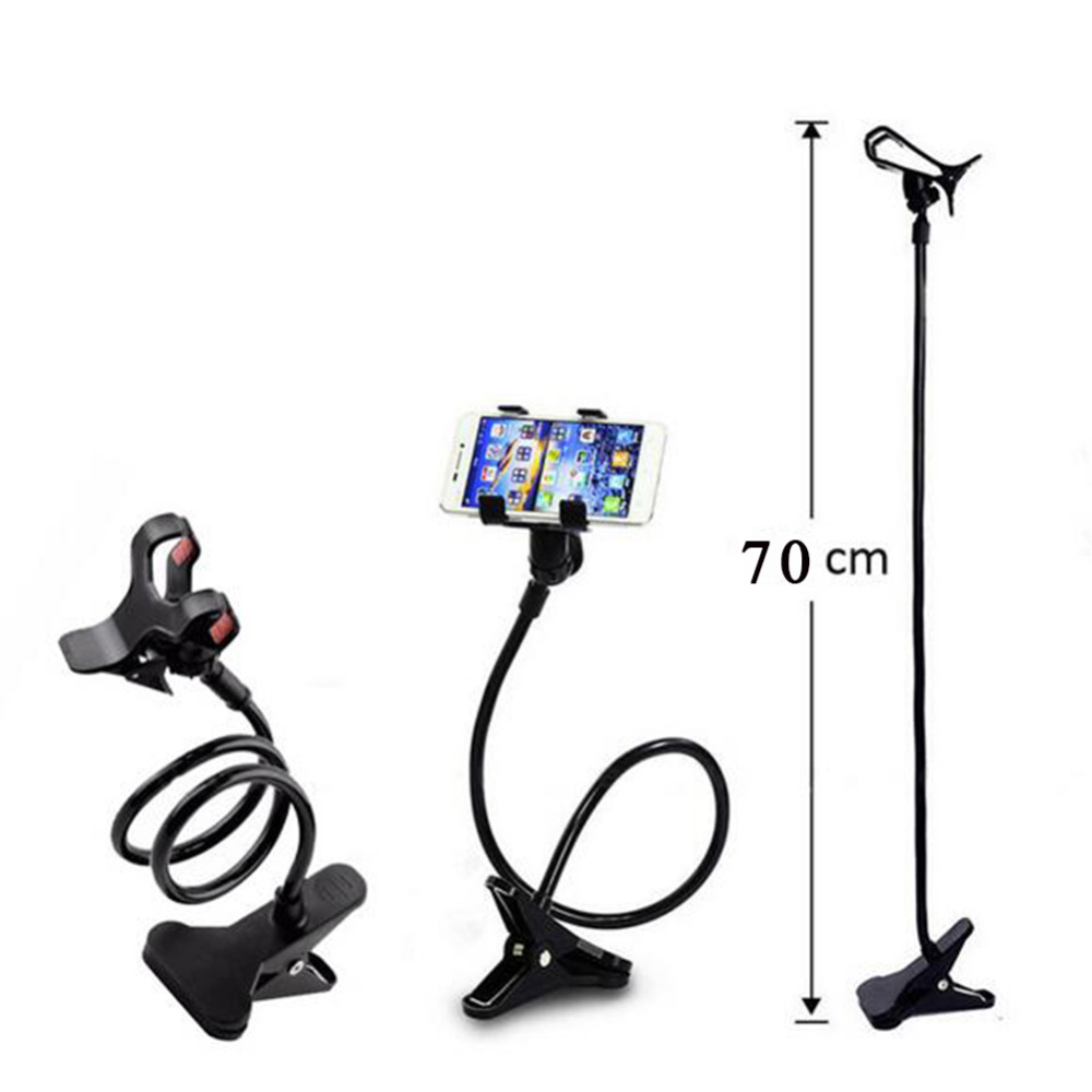 universal cell phone holder with flexible long arm and clamp for bed car and more