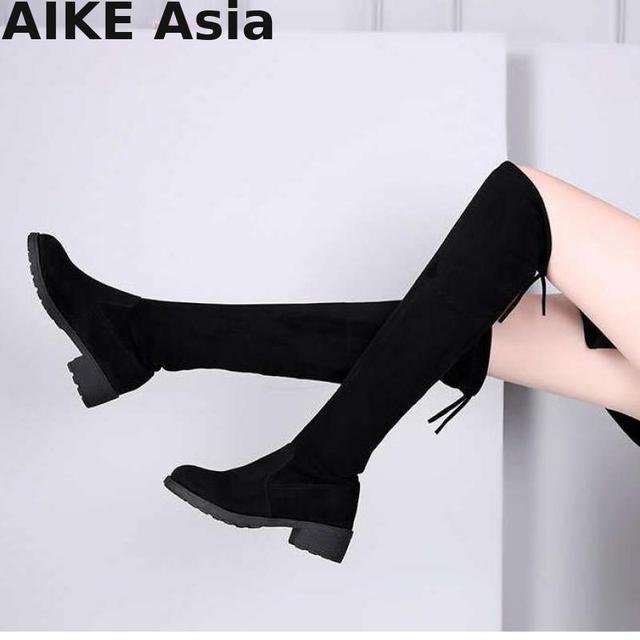 b9c320e62493 Size 35-41 New Hot Women Boots Autumn Winter Ladies Fashion Flat Bottom  Shoes Over The Knee Thigh High Suede Long Botas R66