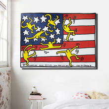 Keith Haring Canvas Art American Flag Abstract Prints Poster For Living Room Modern Cartoon Painting