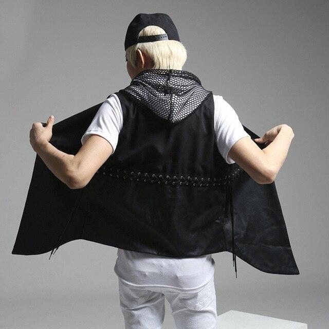 Мужчины новая мода жилет пальто мужчины черный punk rock стиль жилеты ковбой рукавов пальто человек личность жилет K357