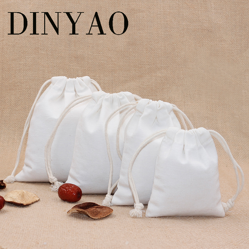 5pcs/lot 9cm*11.5cm 10oz Small Canvas Polyester Bag Pouch Wholesale One Piece Logo Print Drawstring White Gift Bags Packing Bags