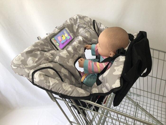 Чехол на колесиках с изображением совы и слона и чехол для стульчика для малышей и младенцев с прозрачным карманом - Цвет: Elephant
