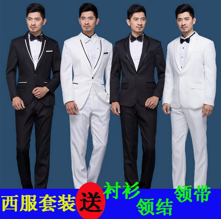 mens suits three pieces set mens wedding formal dress men suit new arrival ternos masculino white black fashion plus size S 4XL