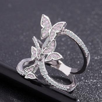 Butterfly Crystal Zircon Wings Ring for Women Love Jewelry Girls Trendy Wedding Bands 1