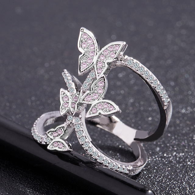 Butterfly Crystal Zircon Wings Ring for Women Love Jewelry Girls Trendy Wedding Bands 1