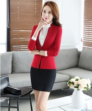 Plus Size Novelty Red Slim Fashion Professional Formal OL Styles Work Suits With Tops And Skirt Business Women Blazers Outfits
