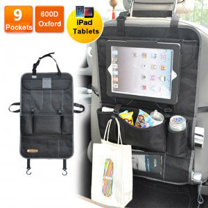Multi Travel Foldable Car Back Seat Pockets Organizer With Holder For Ipad