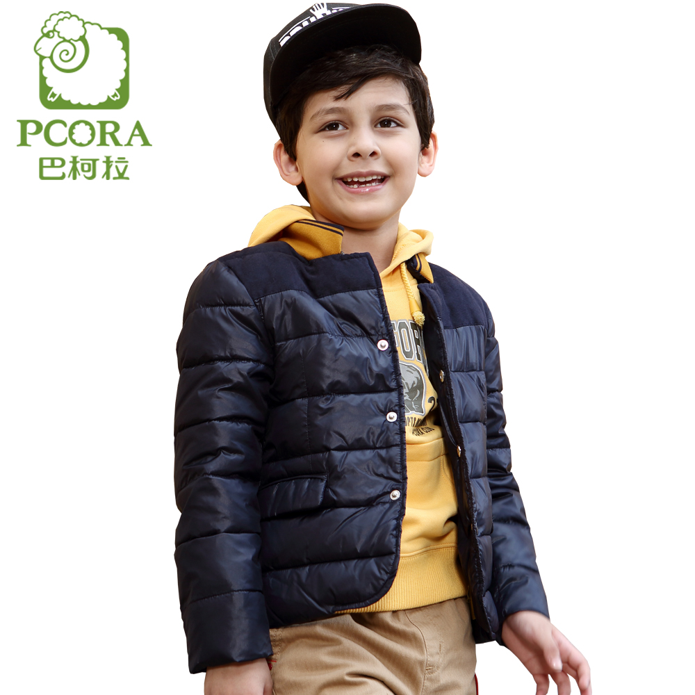 PCORA Boy Down Jackets Kids Winter Thick Warm Jacket Navy Blue Children Parka Size 4T~14T Single Breasted Winter Coat for Boy hot autumn womens slim wool warm coat parka navy blue size s xl light tan red navy