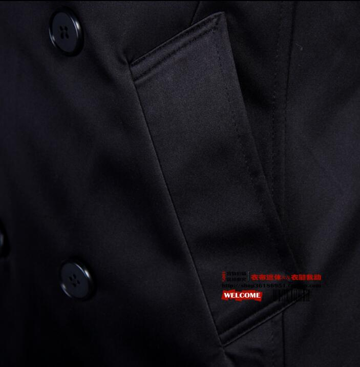 Модный тонкий сексуальный длинный плащ Мужское пальто с длинным рукавом мужская одежда двубортная Верхняя одежда casaco Весна 2019 черный - 5