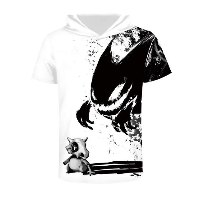 ea4a9eed3dcb Hip Hop Men Women Black Skull Dinosaur Monster Print T Shirt Men Funny  Animal Hooded T-Shirt Short Sleeve Men Summer 3d Tshirts