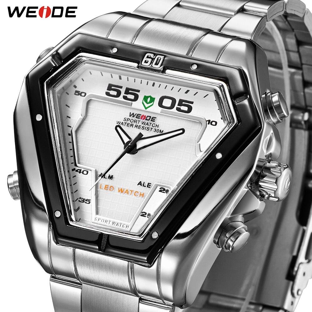WEIDE Fashion Quality LED Analog Movement Men Luxury Brand Quartz Alloy Waterproof Military Wrist Watches Relogios Masculino