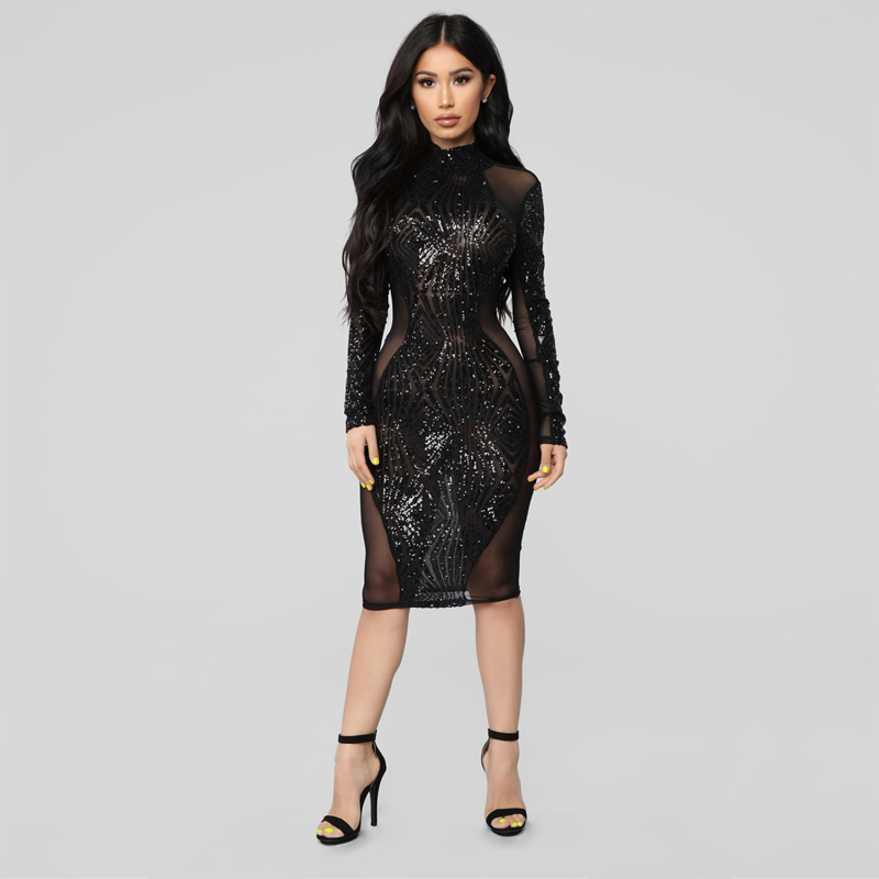 Gros Partie Arrivée Manches Nu Noir Soirée Sequin Midi Robes Longues Dos Brillant Celebrity Robe En Mode De Nouvelle Sexy shQtdr