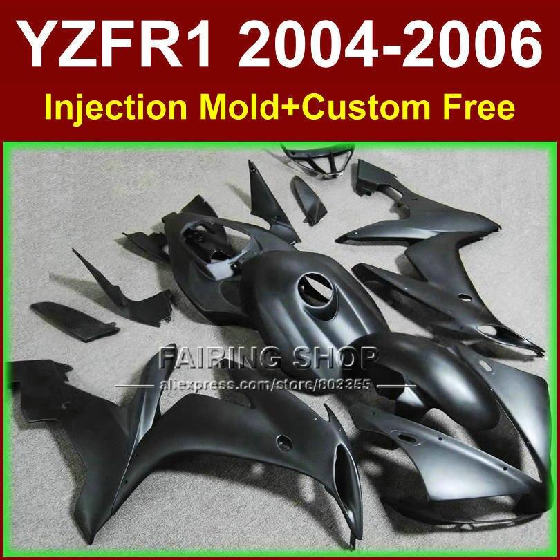 Özel ücretsiz ABS Enjeksiyon kalıp ucuz laminer akış kitleri için YAMAHA R1 2004-2006 YZFR1 YZF1000 YZF 04 05 06 mat siyah fairing kiti