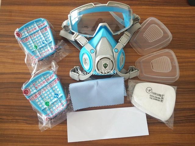 Máscara de gas con gafas de la cara llena máscara protectora YIHU pintura química activado máscaras de carbono fuego escapar aparato de respiración