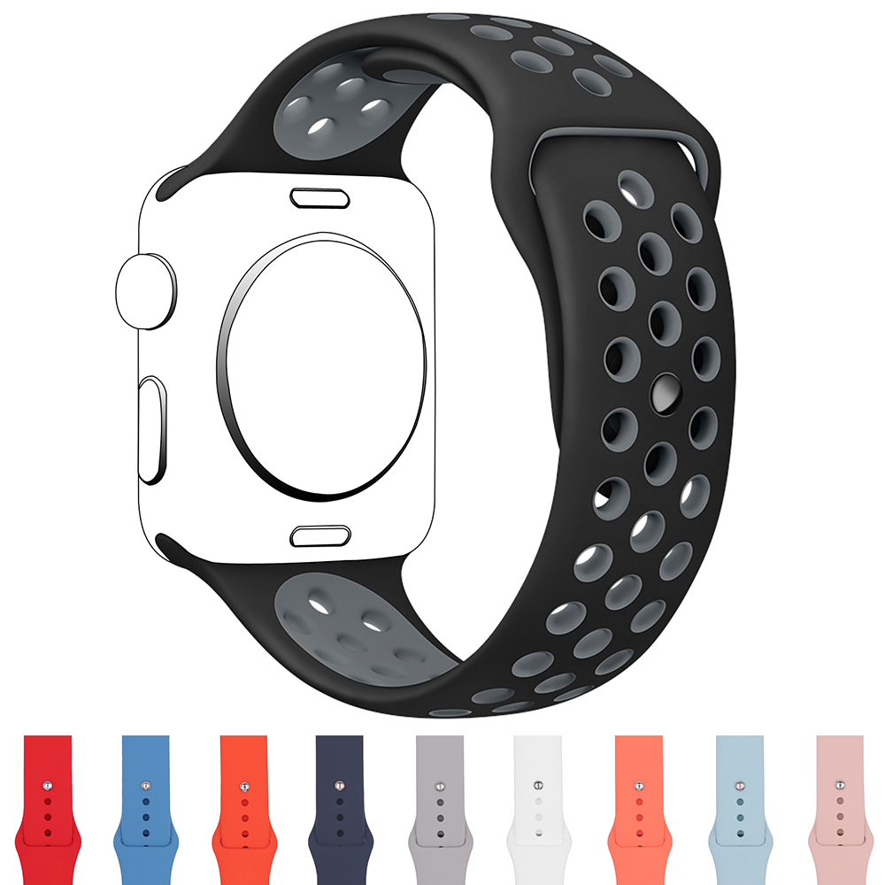 Sport Silicone Band For Apple Watch 38mm 42mm Waterproof Wrist Belt Bracelet Watchband For iWatch Strap Series 1 & 2 & 3 & 4 22 colors sport silicone band for apple watch band series 1 2 3 silicone strap bracelet for iwatch 38mm 42mm watchband